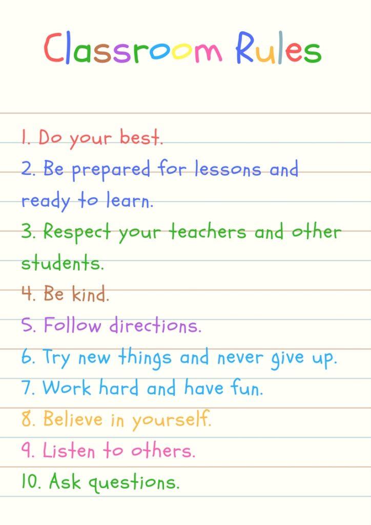 klasowe zasady na lekcje angielskiego